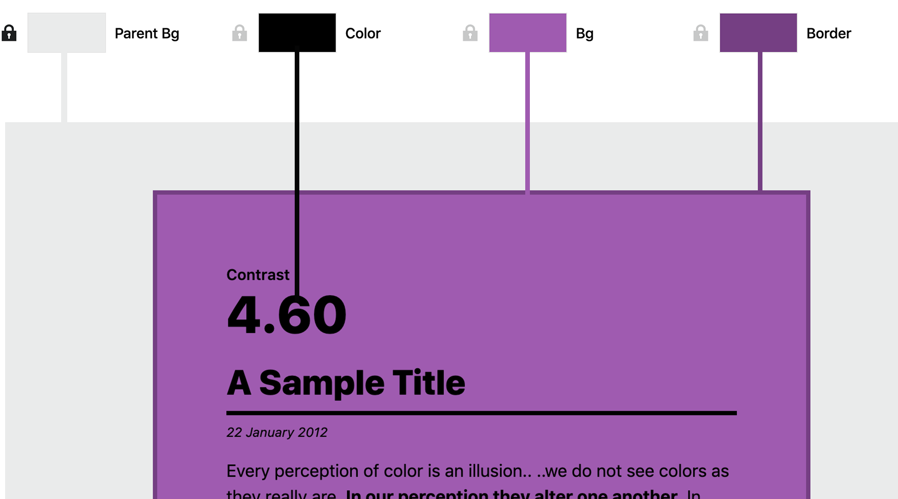 How selected colors from the palette map to the preview panel