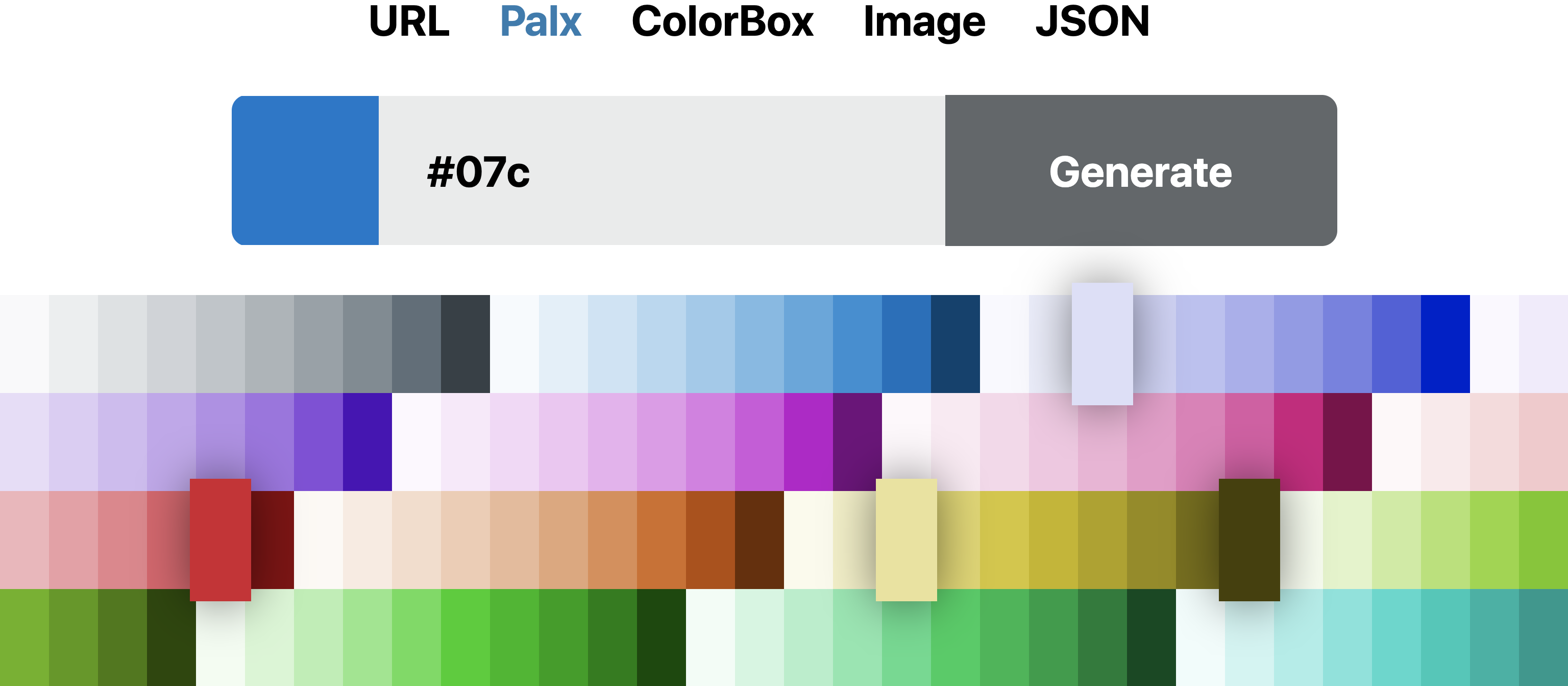 Palette generated from Palx with color #07c