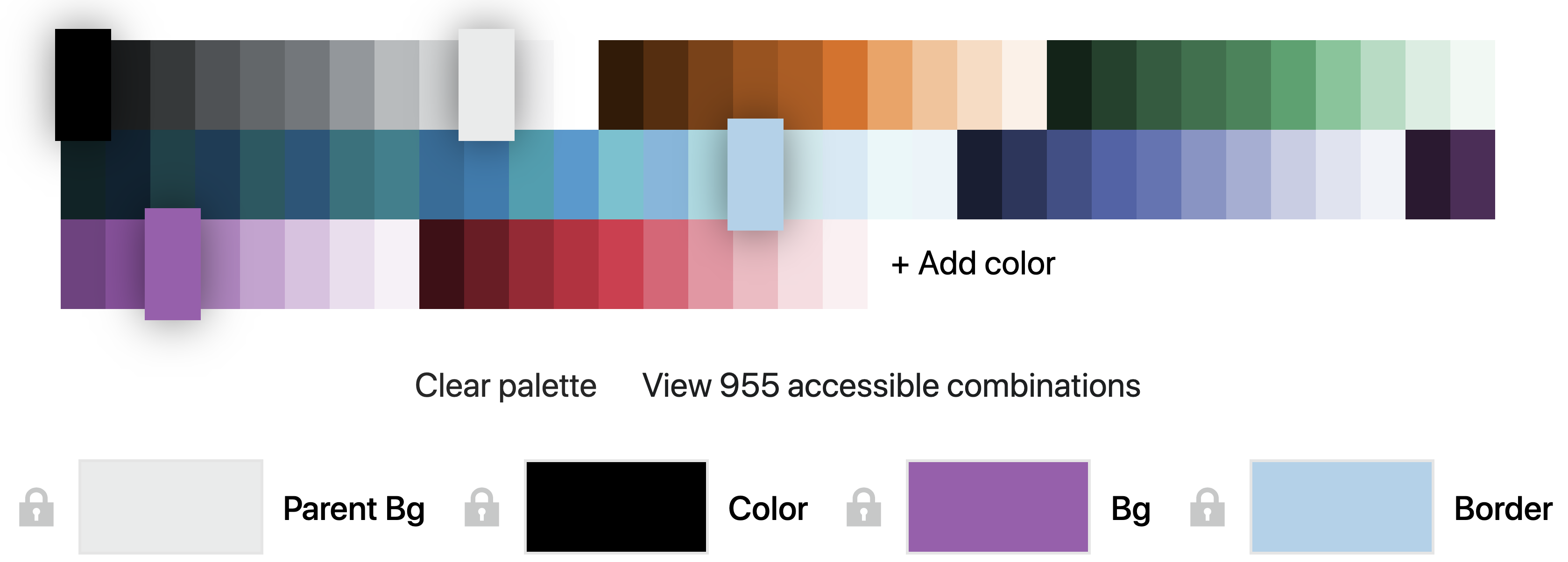 Palette and currently previewed colors