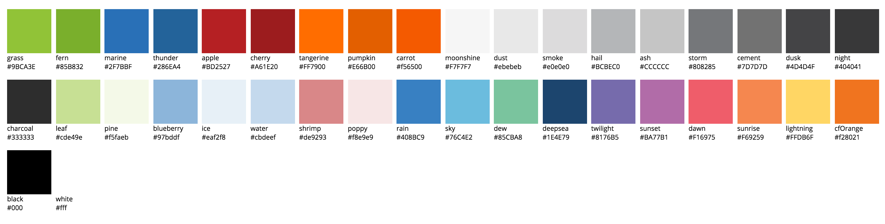 The color section of our theme file was partially ordered chronologically