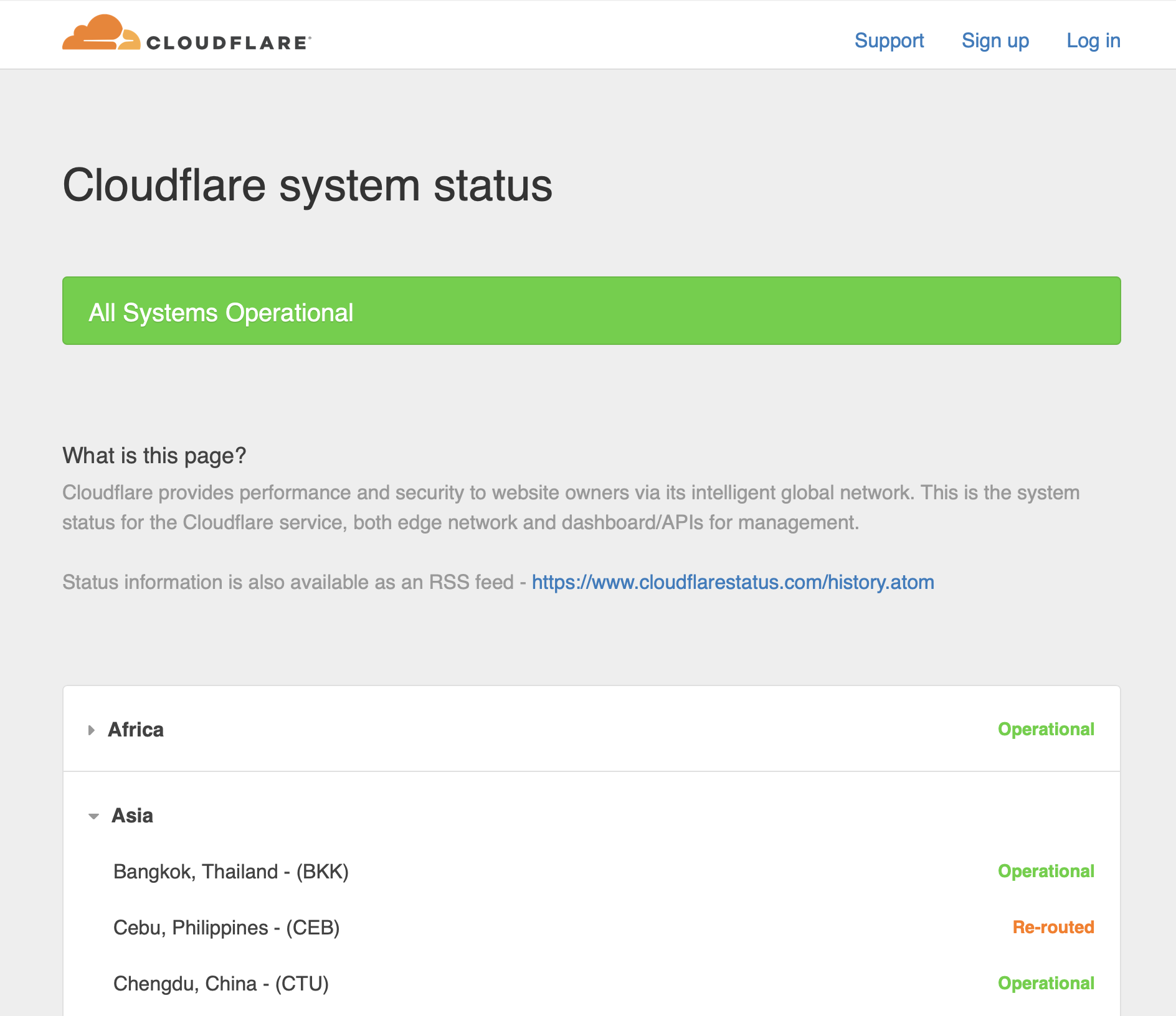 cloudflarestatus.com in 2017