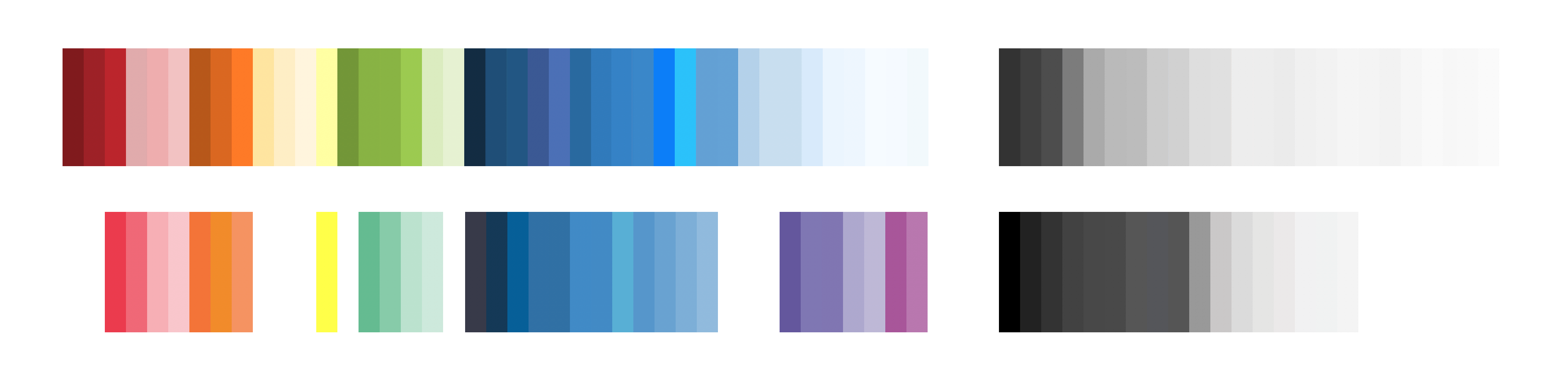 Above - our product palette. Below - our marketing palette aligned by hue