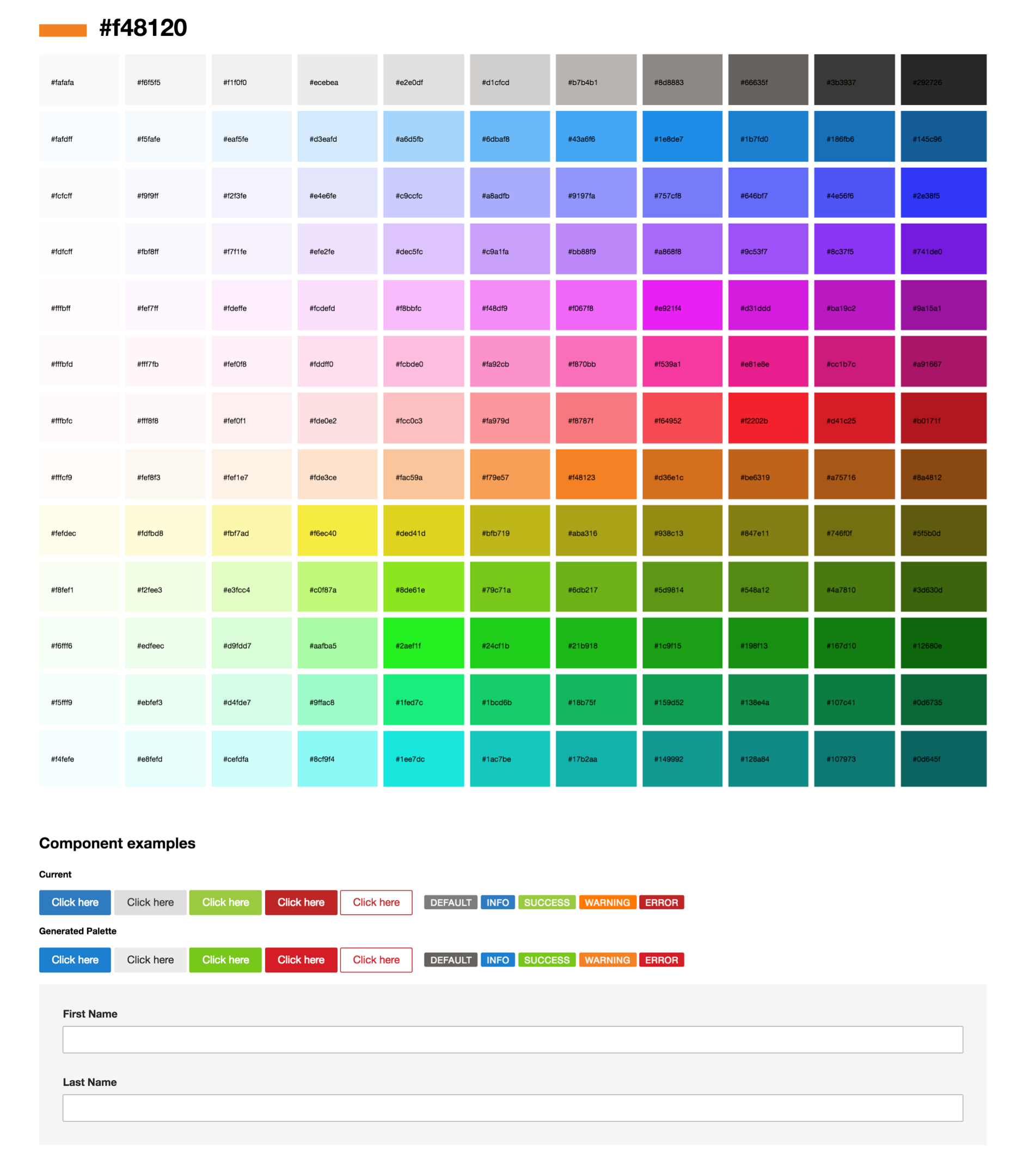 Generated palette above a set of components previewing the old and new palette for comparison